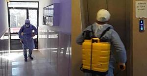 Apartmanlar dezenfekte edildi