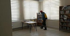 İlçe kütüphanesi dezenfekte edildi